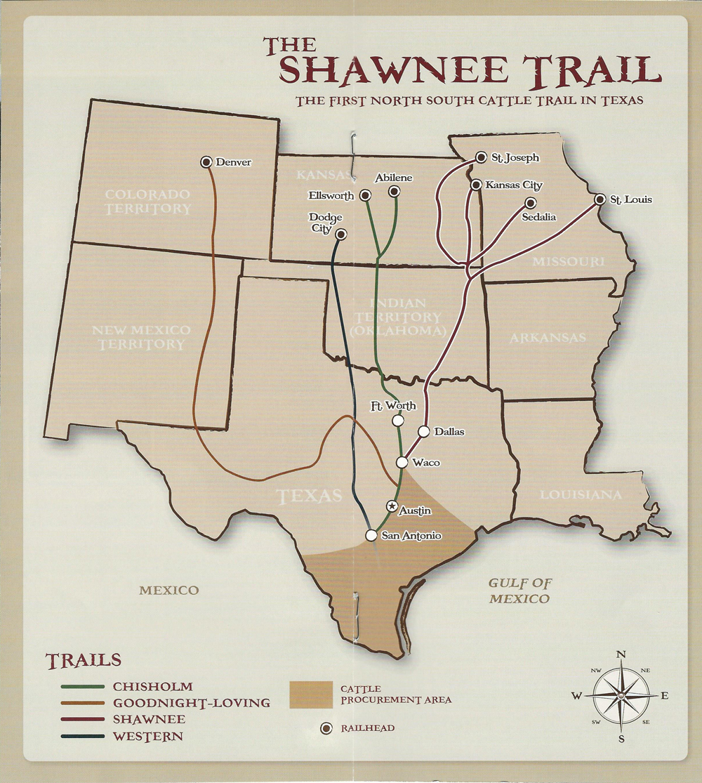 The Shawnee Cattle Trail Pecan Springs Ranch - Chisholm trail map